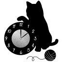 ウォールクロックステッカー ウォールステッカー 時計 猫 じゃれる Wall Clock Stick