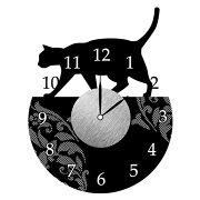 ウォールクロックステッカー ウォールステッカー 時計 猫 おさんぽ Wall Clock Sticker ( ウォールクロック キャット ステッカー シール デコレーション ウォールデコ 壁デコ モノトーン おしゃれ シンプル )【5000円以上送料無料】