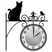 ウォールクロックステッカー ウォールステッカー 時計 猫 まちねこ Wall Clock Sticker ( ウォールクロック キャット ステッカー シール デコレーション ウォールデコ 壁デコ モノトーン おしゃれ シンプル )【5000円以上送料無料】