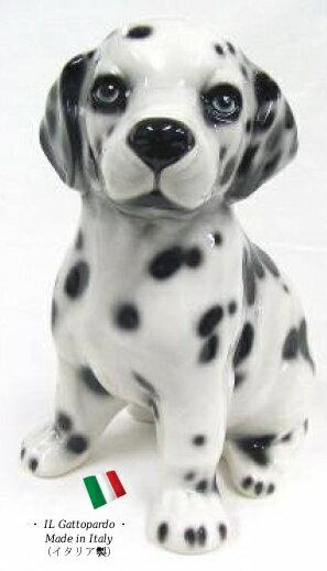 ダルメシアン 置物 オブジェ h6-23da 【送料無料】 イタリア 陶器 動物 雑貨 犬 イヌ