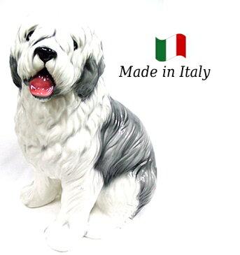 ボブテール 置物 オブジェ h6-71 【送料無料】 イタリア 陶器 動物 雑貨 犬 イヌ