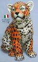 レオパード 置物 オブジェ 72L 【送料無料】 イタリア 陶器 動物 雑貨 ヒョウ 豹 leopard 猛獣 獣 肉食