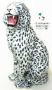 ホワイトレオパード 置物 オブジェ h6-125 【送料無料】 イタリア 陶器 動物 雑貨 ヒョウ 豹 leopard 猛獣 獣 肉食 レオパード