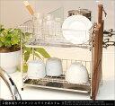 水切りラック 2段 スリム ステンレス製 水切りカゴ スライ...