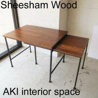 SHEESHAM WOOD + IRONエクステンションローテーブル IAPF-321【シーシャム/シーシャムウッド/アイアン/アンティーク風/ヴィンテージ風/リビングテーブル/デスク/パソコン/サイドテーブル】