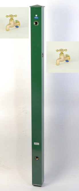 カラーアルミ立水栓補助蛇口仕様 真鍮十字 グリーン GM3-AL500G 二口水栓柱