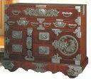 仙台箪笥・車箪笥閂型車箪笥(KD-48D)唐獅子牡丹柄