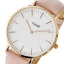 【エントリー&3,000円以上でポイント3倍】(〜8/24)【ポイント2倍】(〜8/31) クルース CLUSE ラ・ボエーム レザーベルト 38mm 腕時計 CL18014 ホワイト/ピンク レディース