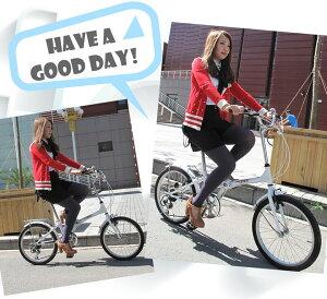 自転車【送料無料】バイクシマノ6段変速折りたたみ自転車折りたたみバイク軽量20インチシマノカゴ付き男性女性子供通勤通学