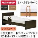 フランスベッド 電動ベッド リクライニングベッド 棚付き U型支援バー付 システムファルド1