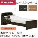フランスベッド 電動ベッド 棚付き 照明付き 木製サイドレール付 システムファルド1モータ