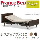 フランスベッド 電動ベッド レステックス-05C 3モーター マットレス付(マイクロRX−V) シ