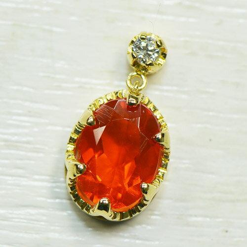 【Beleza-ベレーザ-】ファイヤーオパール×ダイヤモンド K18イエローゴールド ペンダントヘッド(11396AB) V007-1408
