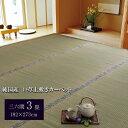純国産/日本製 糸引織 い草上敷 三六間3畳(約182×273cm) 湯沢