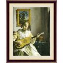 【フェルメールの代表作】謎多き画家 鮮やかな青色 ■ヨハネス・フェルメール(Johannes Vermeer)F4号 ギターを弾く女 送料込!