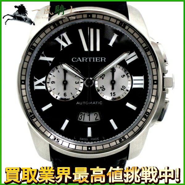 127889【送料無料】【中古】【CARTIER】【カルティエ】カリブルドゥカルティエ クロノグラフ  SS×革 ブラック(黒)文字盤 自動巻きcartier 箱保付 メンズ時計