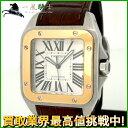 153100【送料無料】【中古】【CARTIER】【カルティエ】サントス100 W20077X7 K18YG×SS×革 ホワイト(白)文字盤 自動巻きcartier メンズ時計