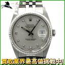 157898【送料無料】【中古】【ROLEX】【ロレックス】デイトジャスト 16234G L番 WG×SS 10Pダイヤ シルバー文字盤 自動巻rolex メンズ時計