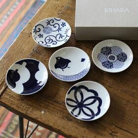 KIHARAキハラ小紋豆皿Mamezara吉祥紋様5種セット【楽ギフ_包装】