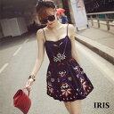 【IRIS】ビーチワンピース ドレス お呼ばれ 着やせ ハイウエスト 旅行 リゾート オフ ショルダー ブラック 春夏 春ワンピース