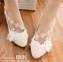 レディースシューズ パンプス ウエディングシューズ 靴 フォーマル ハイヒール ピンヒール 結婚式 花嫁シューズ レースシューズ ぺたんこ ウエディング靴 お嫁さん 痛くない キレイ バックルベルトの