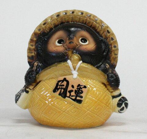 ガマグチ狸 (黄) 7号 信楽焼 たぬき 陶器 狸 置物 タヌキ彩り屋