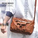 ショッピングオイル 【1年保証】 ショルダーバッグ リリー リアルマインド フォロ オイルレザー レディース キャメル REALMIND LILY 110070