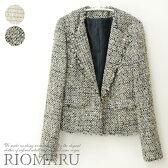 【9〜11号】綿混リッチラメツイード変形カラー長袖ジャケット[jk]■メール便不可■