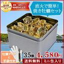 牡蠣 殻付き カンカン焼きセット35個入(4kg前後) ミニ缶入 送料無料 鳥羽浦村産(牡