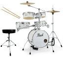 Pearl 小型 ドラムセット RT-645N/C 33-ピュアホワイト リズムトラベラー ドラムイスとスティック付き【送料無料】