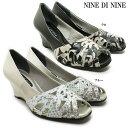 鞋子 - NINE DI NINE NO131-7087レディース パンプス オープントゥ ウェッジソール 幅広 3E 日本製 女性 婦人