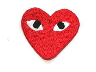 Sold inevitable! Easy ironing adhesive ☆! Embroidered emblem red heart ♪ ☆