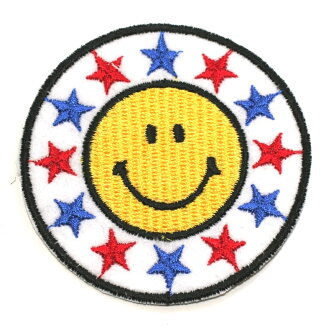 Ironing adhesive type ☆ ☆! Embroidered emblem smile ♪ round Star (large)