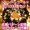 新LEDイルミネーション電飾 1000球(シャンパンゴールド...