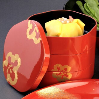 Athletic, recreation, blossom and plum-three boxes [Kyoto lacquer ware Inoue Assistant: 3-stage with modern stylish 梅 型 三段 重箱 < 京都 漆器 の 井 助 > 3 段 モダン で お しゃれ かわいい cute food osechi (NABE) Bento (lunchbox) on marriage and birth celebrations, 内 祝 I (family)