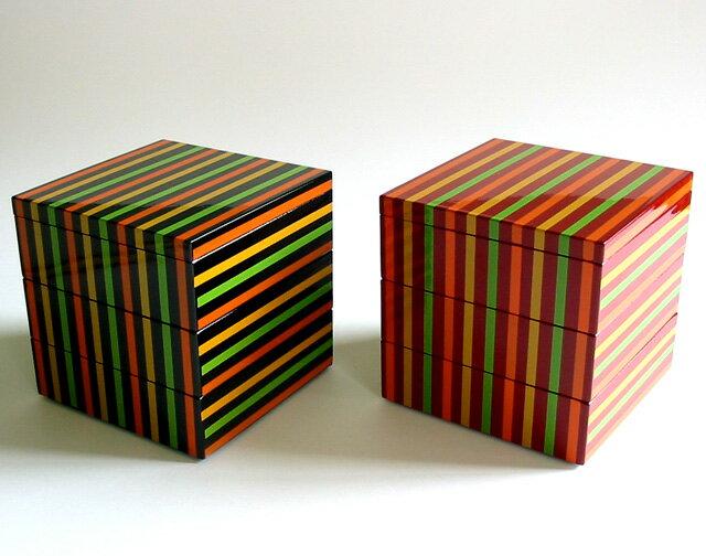 三段重箱 独楽ライン<京都 漆器の井助>3段 縁起物のデザイン モダンでおしゃれ、かわいい…...:isuke:10003011