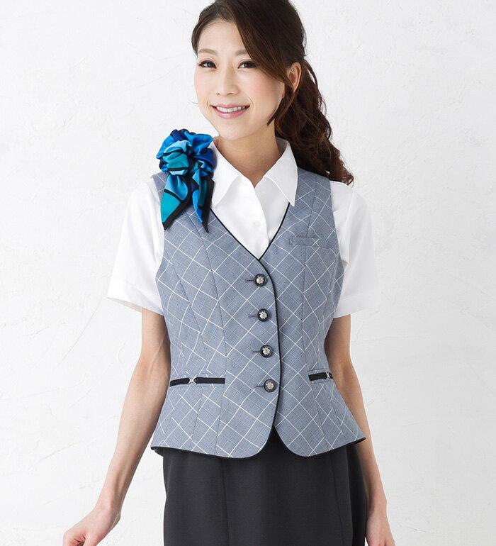 【送料無料】「着るだけでワンサイズスマート!」美スラッとSuits Crystalベスト/事務服・企業制服・オフィスユニフォームにもおすすめ!