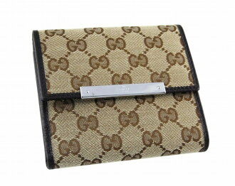 112664 9643 W hook wallet F40IR GG canvas X leather (beige X dark brown) popularity new article SALE