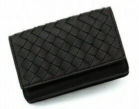 Bottega Veneta business card holder 133945 V001U1000 leather (black)