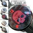 ショッピングスカル 【送料無料】ビッグフェイス 3D 腕時計 スカルドクロ 50mm ユニセックス ガリバー テンデンス好きさんに (全5色)