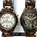 ポイント10倍 送料無料 メンズ腕時計 ニクソン好きさんに必見 べっ甲 メタルコンビ 腕時計 クロノグラフ SORRISO (2色/ホワイト ブラック A037679)