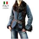 全国送料無料 イタリア製 evolution インポート 牛革Xデニムファージャケットレザーファーコート (ブラウンXインディゴブルー)