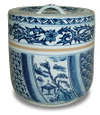【茶道具】染付切立形水指万古焼清宝窯(ボール箱)