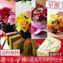 京都の宇治茶の老舗が贈る母の日ギフト2018。5月13日(日)は お母さん、お義母さんを笑顔にする花やスイーツをお贈りください。母の日 ギフト 2018 選べる4種 生花 スイーツ フラワーギフト カステラ セット 和風 花器付き 送料無料 早割 プレゼント カーネーション バラ フラワーアレンジメント ブーケ 花束 抹茶スイーツ お菓子 和菓子 洋菓子 伊藤久右衛門 母の日ギフト ギフトセット 花とスイーツ