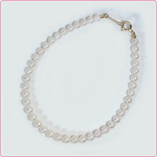 あこや真珠ブレスレットパールブレスレット<3.5~4mm>引き輪とプレートタイプ/K18・(17cm)アコヤ真珠 V-1591【当店のクーポンを是非ご利用下さい】