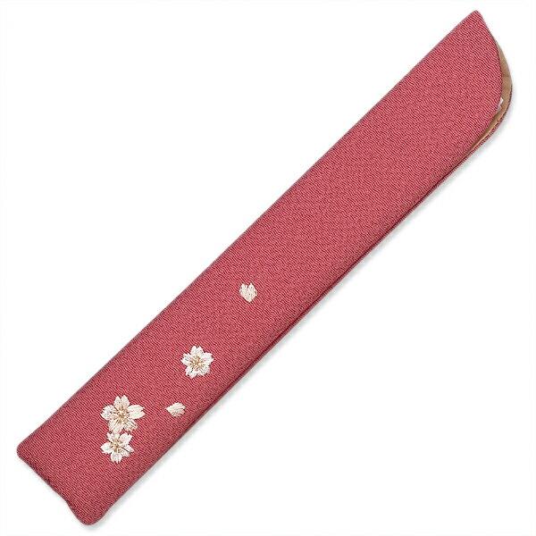女性用扇子袋6.5寸用/女性用扇子袋/チリメン刺繍入 桜/ピンク