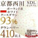 綿100%・日本製カバープレゼント!!【京都西川 ホワイトグースダウン】羽毛布団(セミ