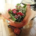 ≪送料&クール便代金込み≫バラとピンポンマムのミニ花束(赤系)