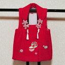 正絹 一つ身 被布 赤 刺繍 毬柄 銀糸織り