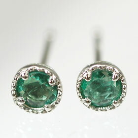 Platinum Emerald birth stone Stud Earrings